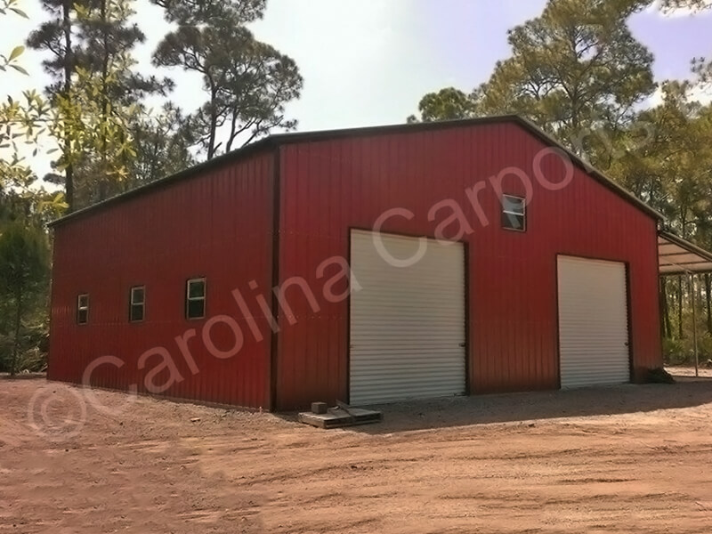 Fully Enclosed with Two 10' x 10' Garage Doors