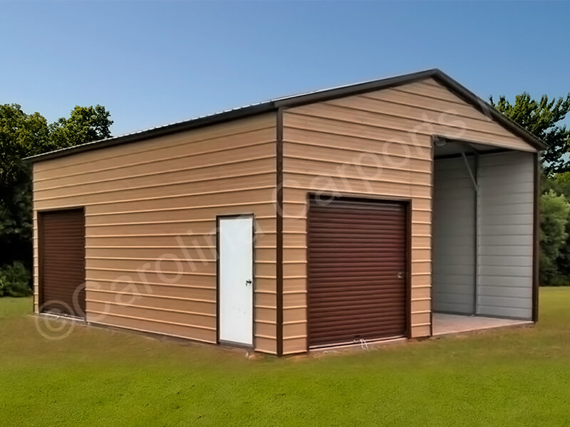 Vertical Roof Style Carport with 1 Garage Door