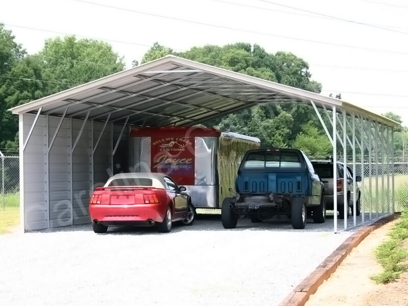Vertical Roof Carport with One Side CLosed