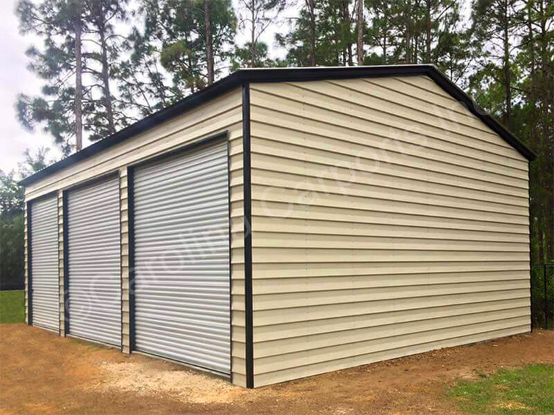 Vertical Roof Triple Wide Lap Sided Building-295