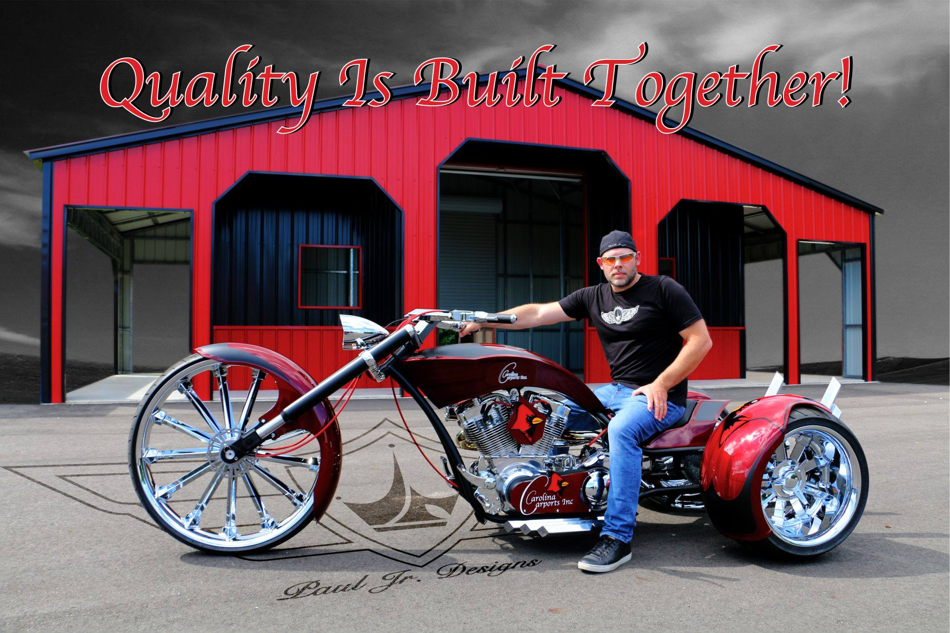 9b2f0715f36 The custom trike was the second project between the Carolina Carports, Inc.  and Paul Teutul Jr of Paul Jr Designs. The trike unveiling took place on  June 23 ...